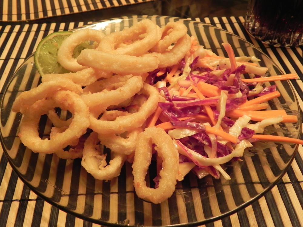 Rabas y coleslaw