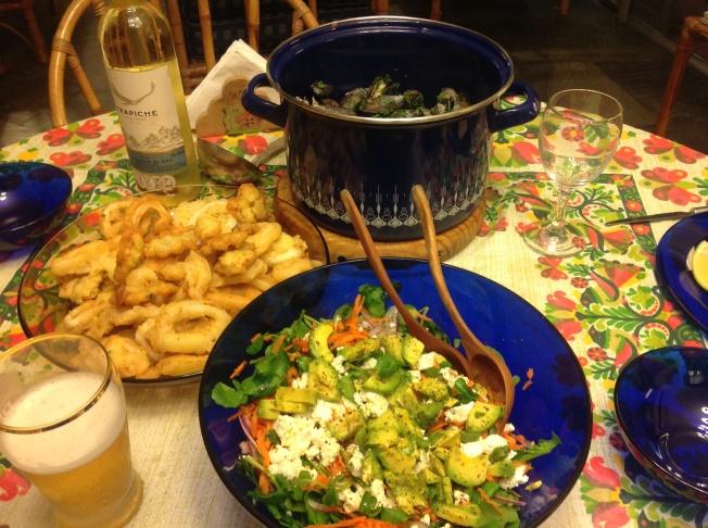 Calamares y berberechos en tempura de cerveza